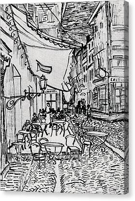 Cafe Terrace At Night - Drawing Canvas Print by Vincent van Gogh