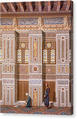 Cairo Interior Of The Mosque Canvas Print by Emile Prisse d'Avennes
