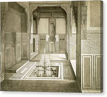 Cairo Mandarah Reception Room, Ground Canvas Print by Emile Prisse d'Avennes