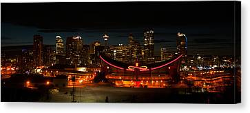 Calgary At Night Canvas Print by Guy Whiteley