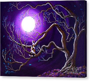 Calico Cat In Haunted Tree Canvas Print by Laura Iverson