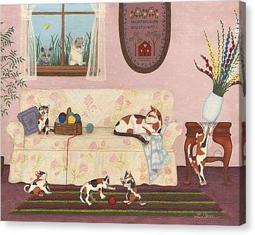 Calico Mischief Canvas Print by Linda Mears