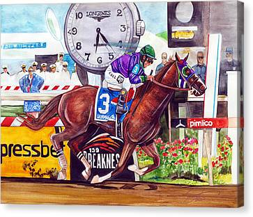 California Chrome Wins The Preakness Stakes Canvas Print by Dave Olsen
