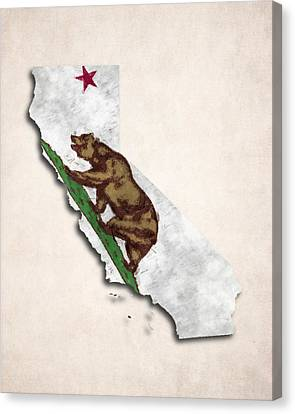 California Map Art With Flag Design Canvas Print by World Art Prints And Designs