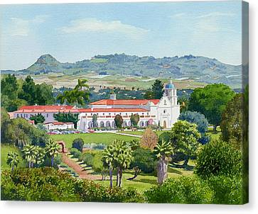California Mission San Luis Rey Canvas Print by Mary Helmreich
