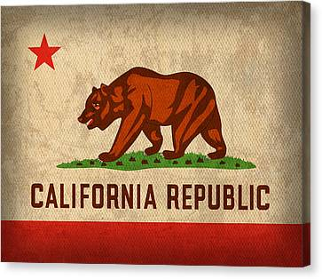 California State Flag Art On Worn Canvas Canvas Print by Design Turnpike