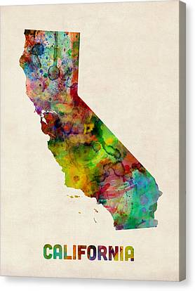 California Watercolor Map Canvas Print by Michael Tompsett