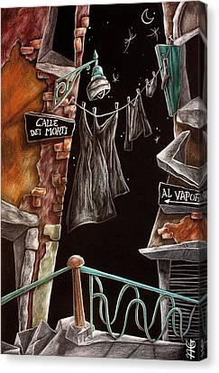 Calle Dei Morti - L'arte Di Venezia  Canvas Print by Arte Venezia