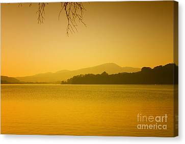 Calm Lake In The Evening Austria Canvas Print by Sabine Jacobs