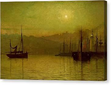Calm Waters, Scarborough, 1880 Canvas Print by John Atkinson Grimshaw