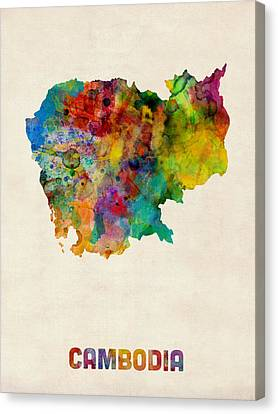 Cambodia Watercolor Map Canvas Print by Michael Tompsett