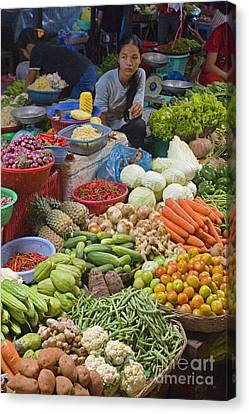 Cambodian Vegetable Market Canvas Print by Craig Lovell