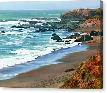 Cambria Shoreline In The Fall Canvas Print by Elaine Plesser