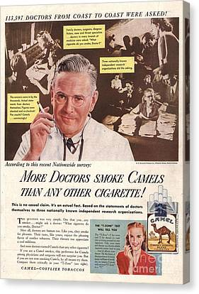 Camels 1946 1940s Usa Cigarettes Canvas Print by The Advertising Archives