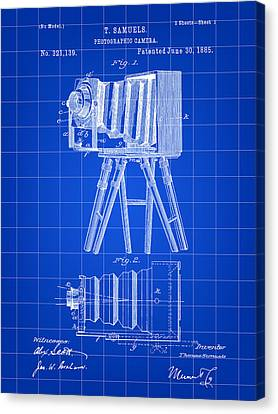 Camera Patent 1885 - Blue Canvas Print by Stephen Younts