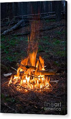 Camp Fire Canvas Print by Boon Mee