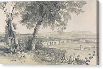 Campagna Of Rome From Villa Mattei Canvas Print by Edward Lear