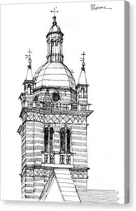 Campanile Della Cattedrale Di Genova Canvas Print by Luca Massone
