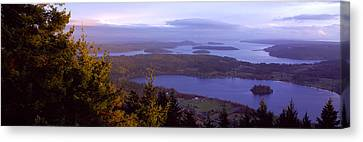 Campbell Lake And Whidbey Island Wa Canvas Print by Panoramic Images