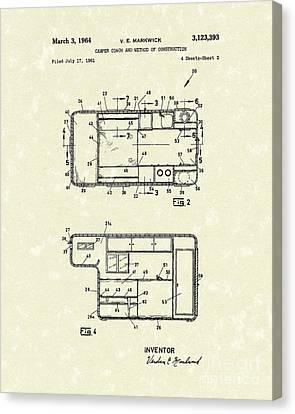 Camper Coach 1964 Patent Art Canvas Print by Prior Art Design