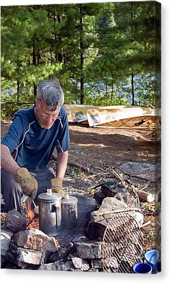 Camper Cooking Breakfast Canvas Print by Jim West