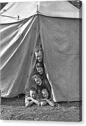 Camping Family Portrait Canvas Print by Underwood Archives
