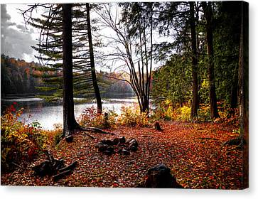 Campsite On Cary Lake Canvas Print by David Patterson