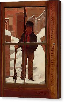 Can I Shovel Off The Snow Canvas Print by Mountain Dreams