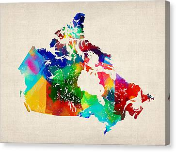 Canada Rolled Paint Map Canvas Print by Michael Tompsett