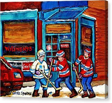Canadian Art Wilensky Doorway Hockey Game Paintings Of Winter Montreal Street Scenes Carole Spandau Canvas Print by Carole Spandau