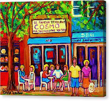 Canadian Artists Montreal Paintings Cosmos Restaurant Sherbrooke Street West Sidewalk Cafe Scene Canvas Print by Carole Spandau