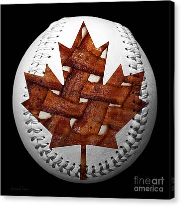 Canadian Bacon Lovers Baseball Square Canvas Print by Andee Design