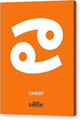 Cancer Zodiac Sign White On Orange Canvas Print by Naxart Studio