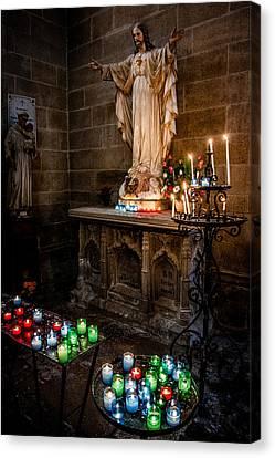 Candlelit Altar Canvas Print by Nigel R Bell
