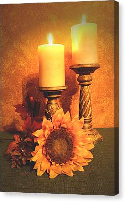Candles And Sunflower Canvas Print by Zelma Hensel