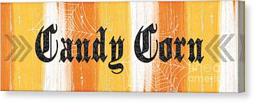 Candy Corn Sign Canvas Print by Linda Woods