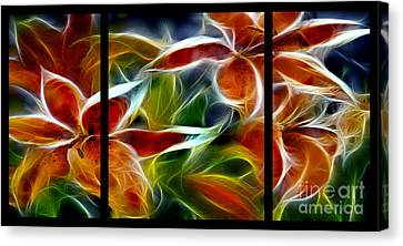 Candy Lily Fractal Triptych Canvas Print by Peter Piatt