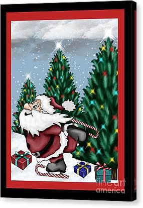 Candycane Santa Canvas Print by Karen Sheltrown