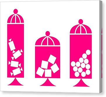 Canisters In Pink Canvas Print by Donna Mibus