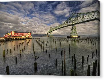 Cannery Pier Hotel And Astoria Bridge Canvas Print by Mark Kiver