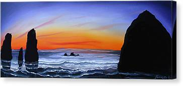 Cannon Beach At Sunset 16 Canvas Print by Portland Art Creations