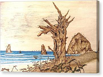 Cannon Beach In October Canvas Print by Roger Storey