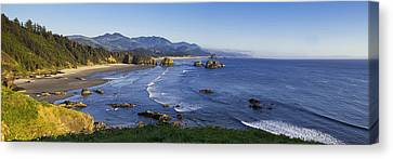 Cannon Beach Panorama Canvas Print by Andrew Soundarajan