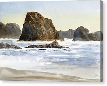 Cannon Beach Rocks With Waves Canvas Print by Sharon Freeman