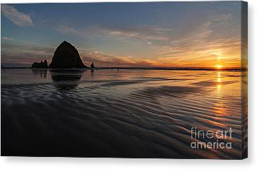 Cannon Beach Sunset Sand Waves Canvas Print by Mike Reid