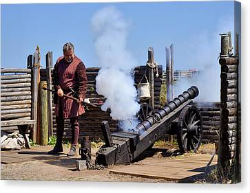 Cannon Firing At Fountain Of Youth Fl Canvas Print by Christine Till