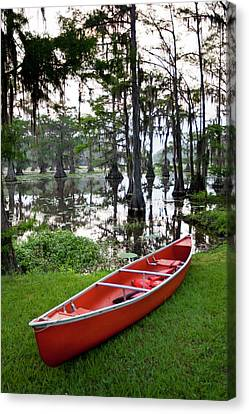 Canoe By Caddo Lake, Texas's Largest Canvas Print by Larry Ditto