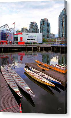 Canoe Club And Telus World Of Science In Vancouver Canvas Print by Ben and Raisa Gertsberg