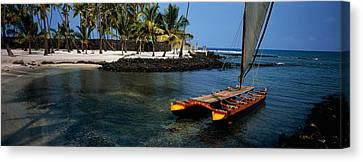 Canoe In The Sea, Honolulu,puuhonua O Canvas Print by Panoramic Images