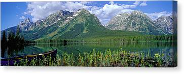 Canoe Leigh Lake Grand Teton National Canvas Print by Panoramic Images